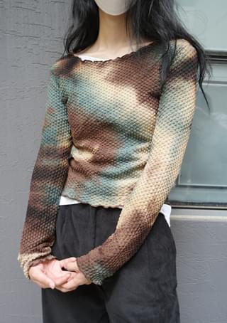 embossing tie-dye top (3colors)