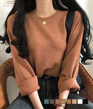 韓國空運 - Deli Jean Ribbed Loose-fit Knitwear T-shirt 針織衫