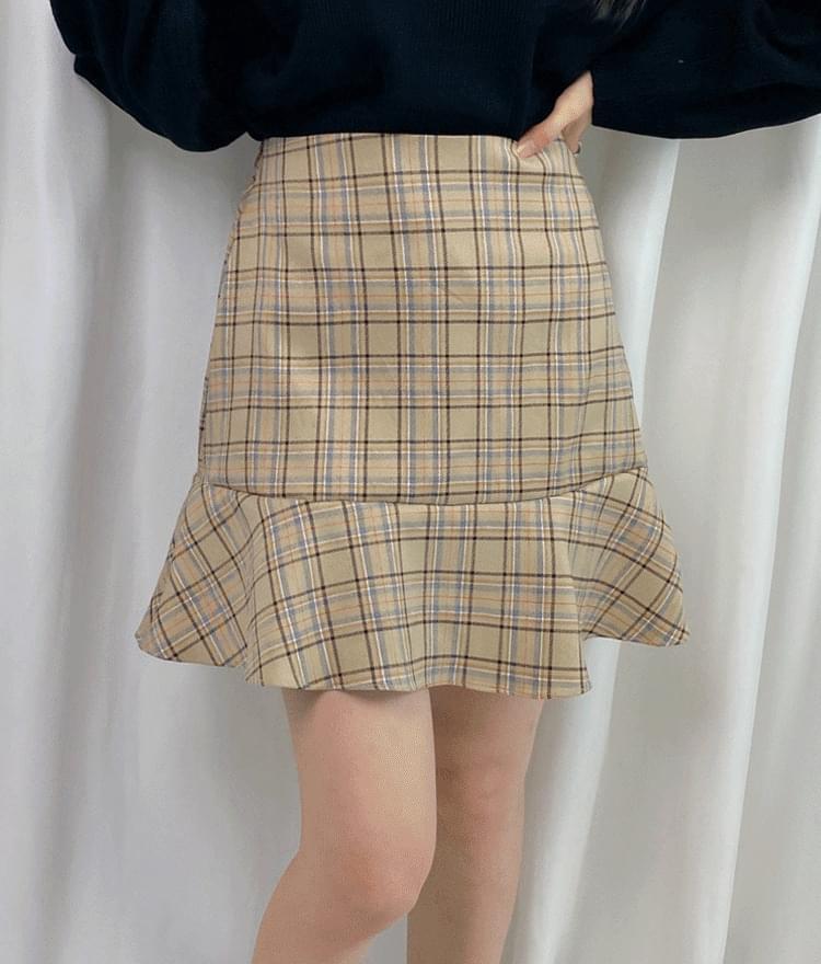 Mei check skirt skirt