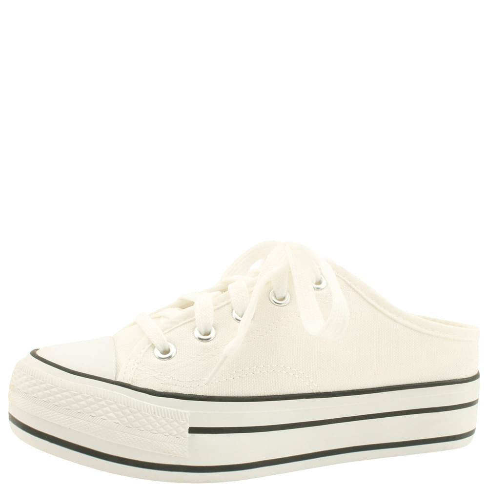 Canvas Sneakers High Heel Mule Blocker White