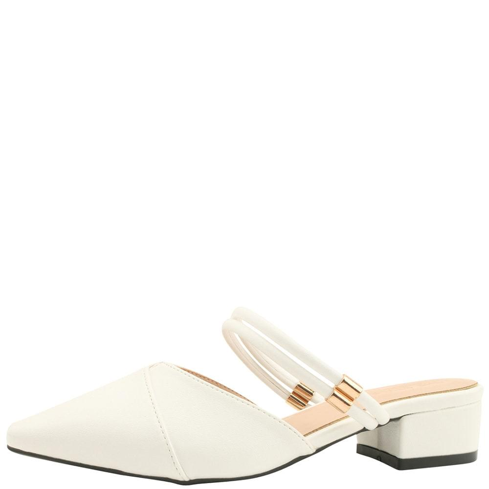 Stiletto Mary Jane Mule Low Heel White 跟鞋
