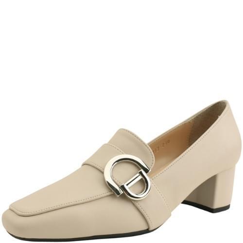 Middle heel buckle strap loafers light beige