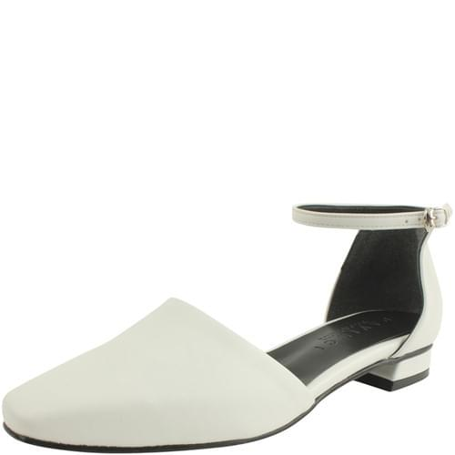 Square Nose Strap Flat Shoes White