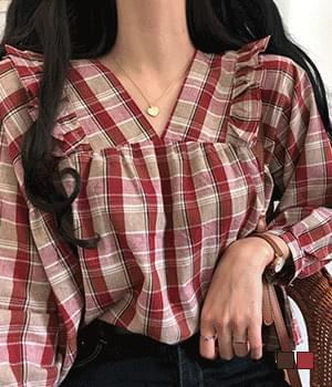 Cohi ruffled check blouse