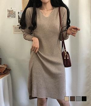 Soft V-neck ribbed knit long dress