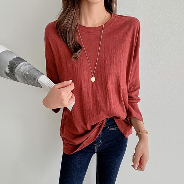 Long-sleeved slab basic T-shirt #107480