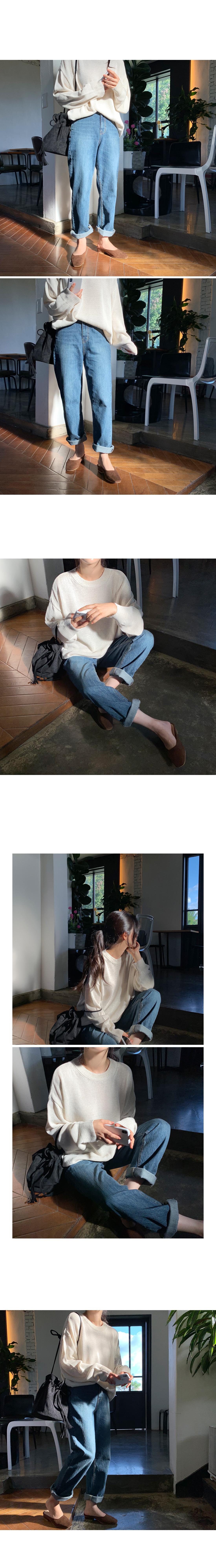 Grande Wide Long Denim Pants- Dark Blue L