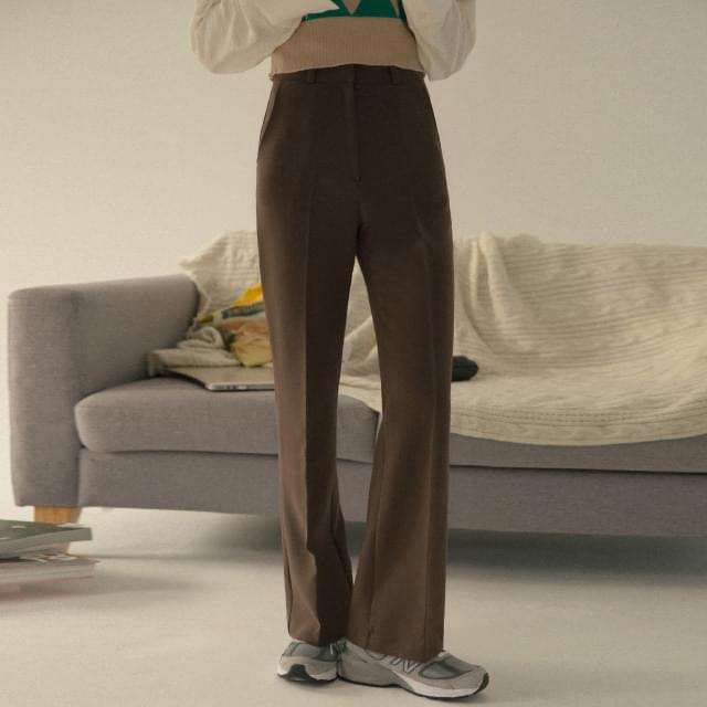 Mannish mood semi-boot cut slacks