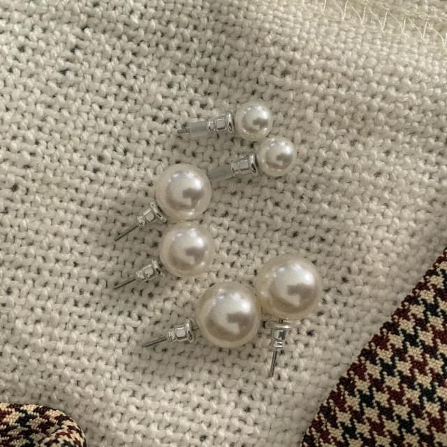 3-type pearl earring set
