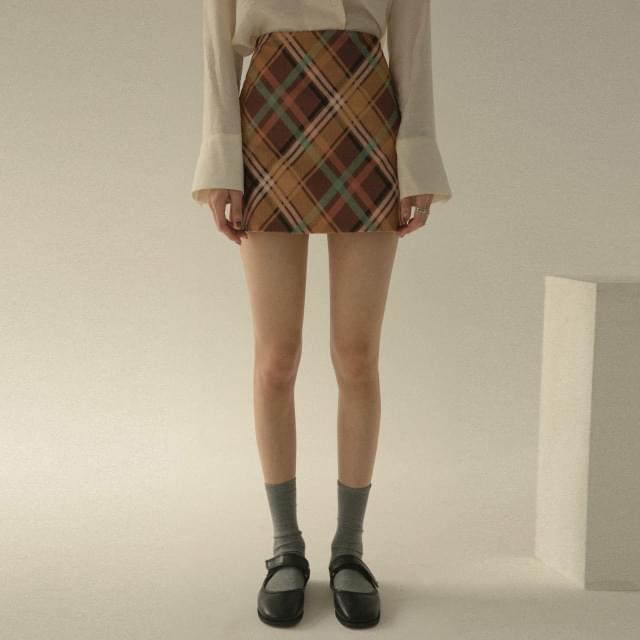 Coloring check mini skirt 裙子