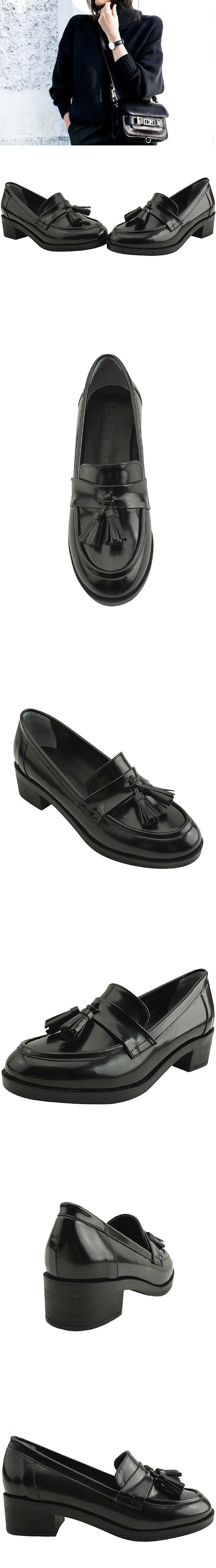 Tassel full-heeled classic loafer shoes 4cm