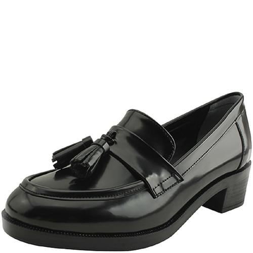 Tassel full-heeled classic loafer shoes 4cm ローファー