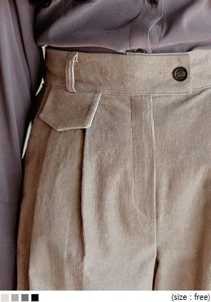 后弹力腰捏褶灯芯绒休闲裤
