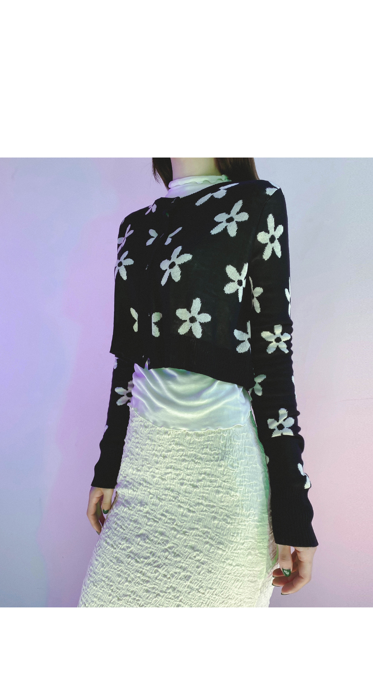 Flower fury knit cardigan