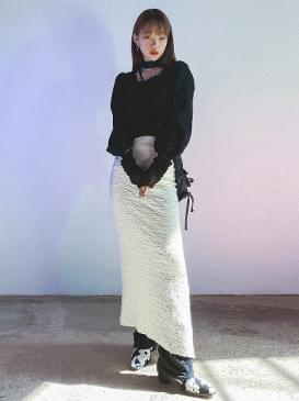 Slit polling long skirt skirt