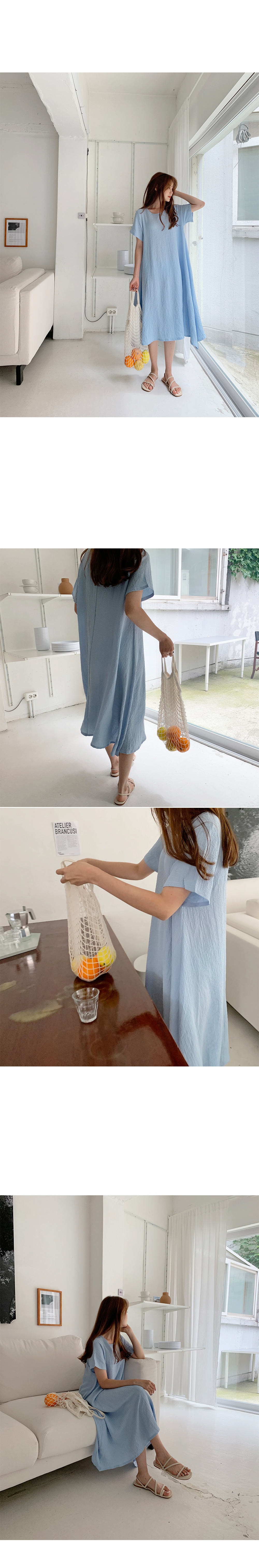 Wrinkle cooling summer long dress