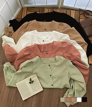 Peach Fabric Wood Square Neck Blouse