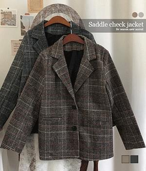 Saddle Check Wool Two Button Jacket