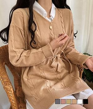 Label waistband knit mini dress