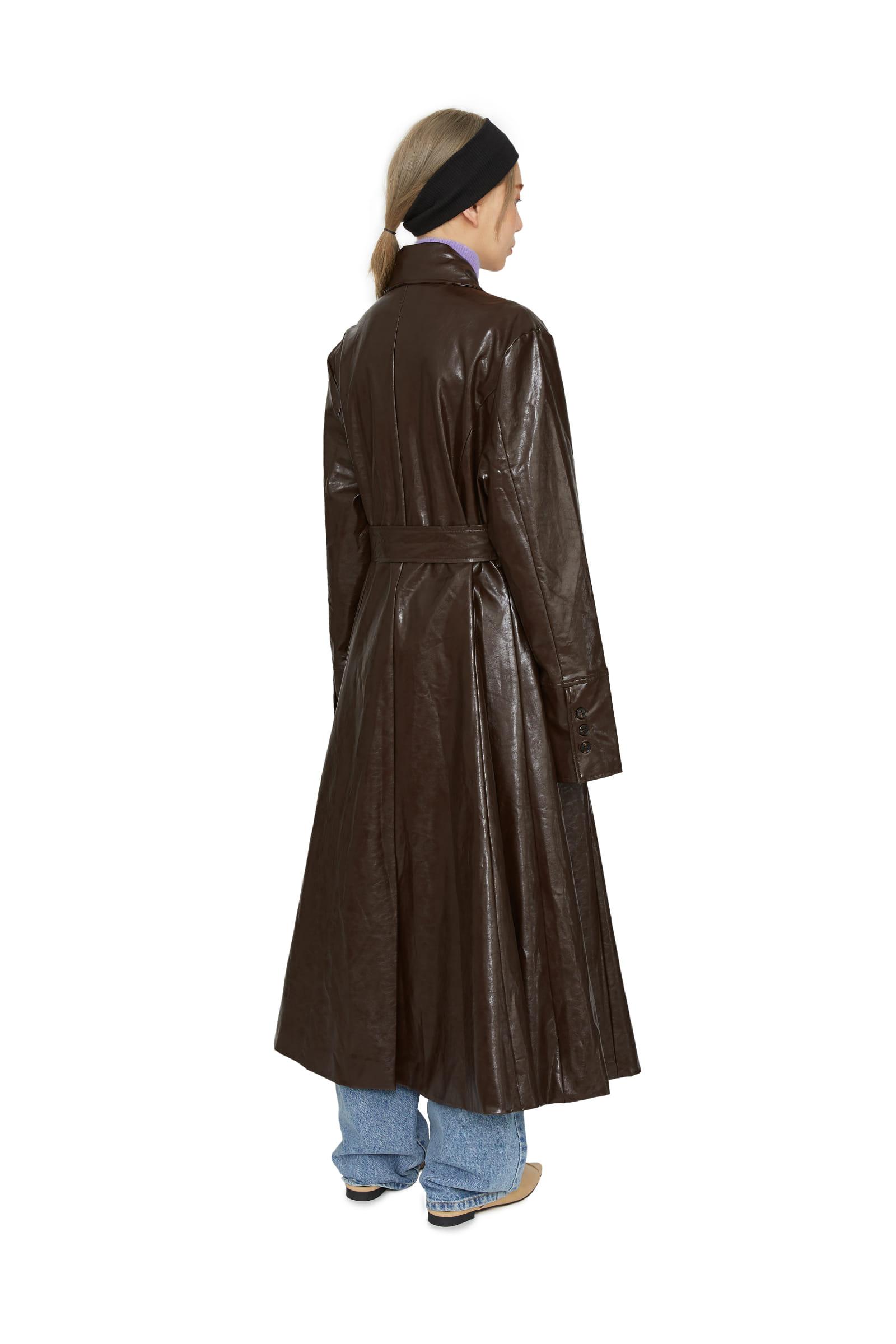 Brain Shine Leather Trench Coat