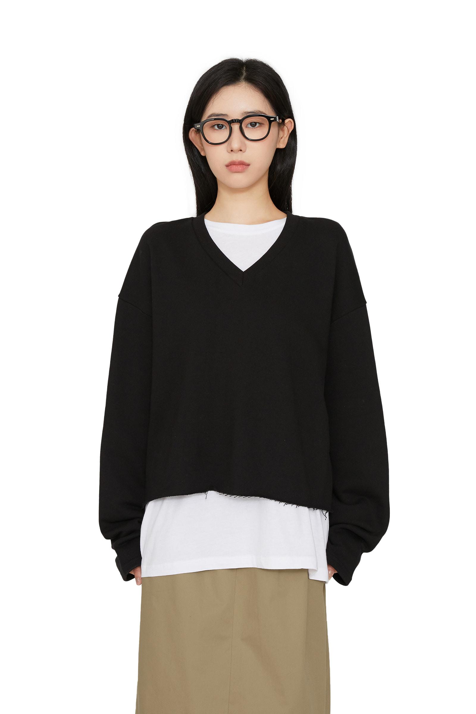 Basic cropped V-neck sweatshirt
