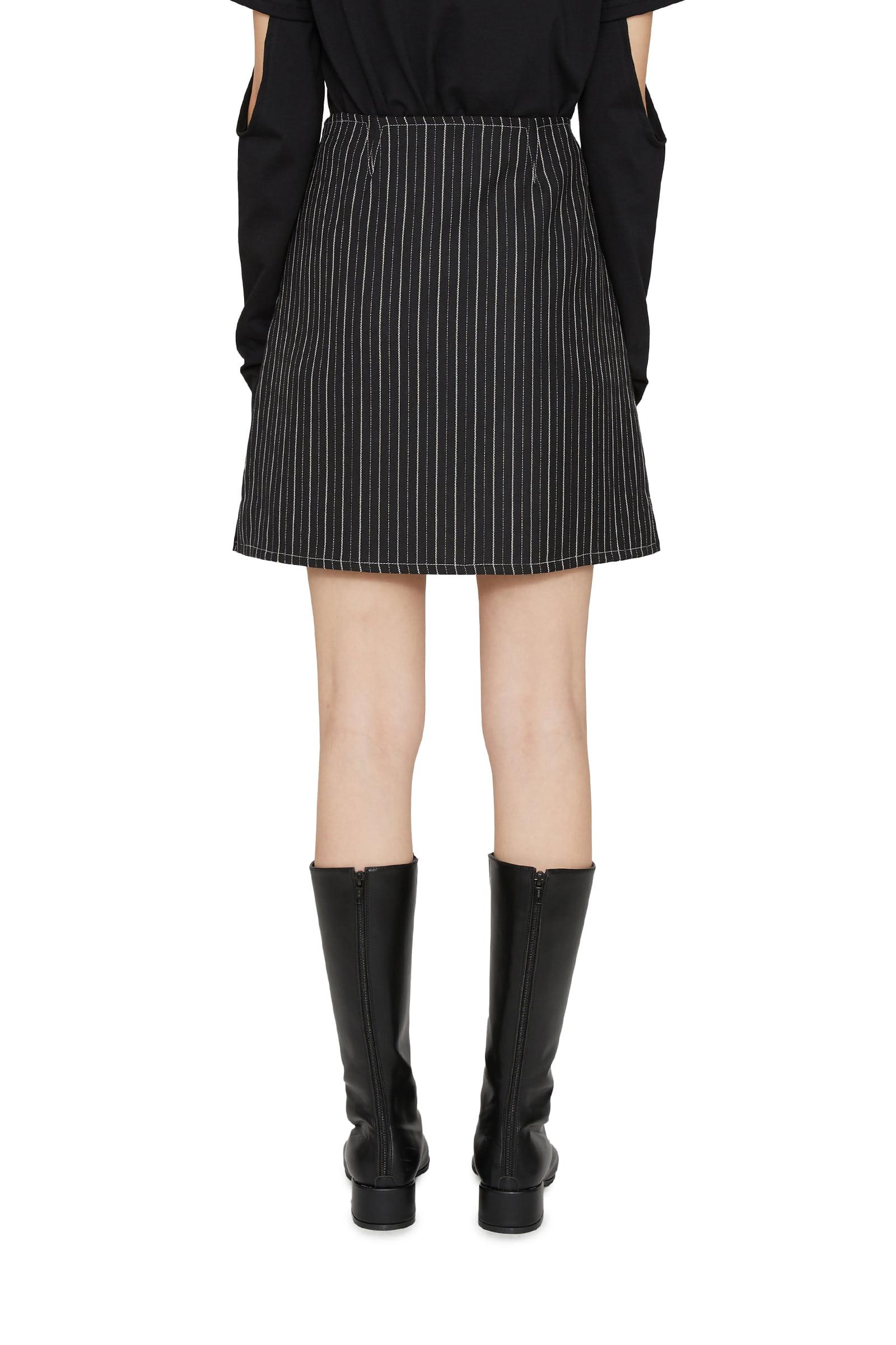Low striped mini skirt
