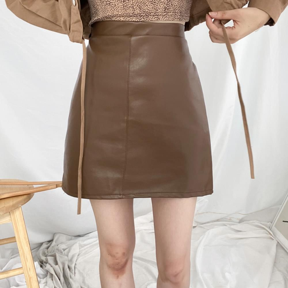 A-line chic leather mini skirt skirt