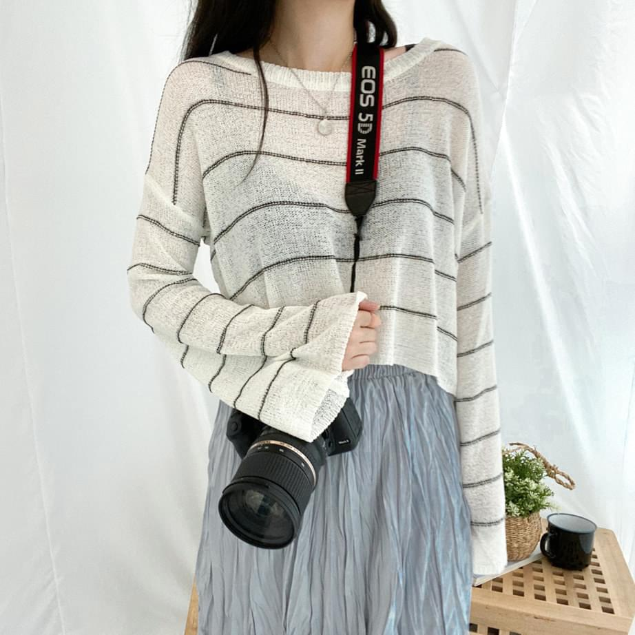 Campus striped cropped knit Long Sleeve