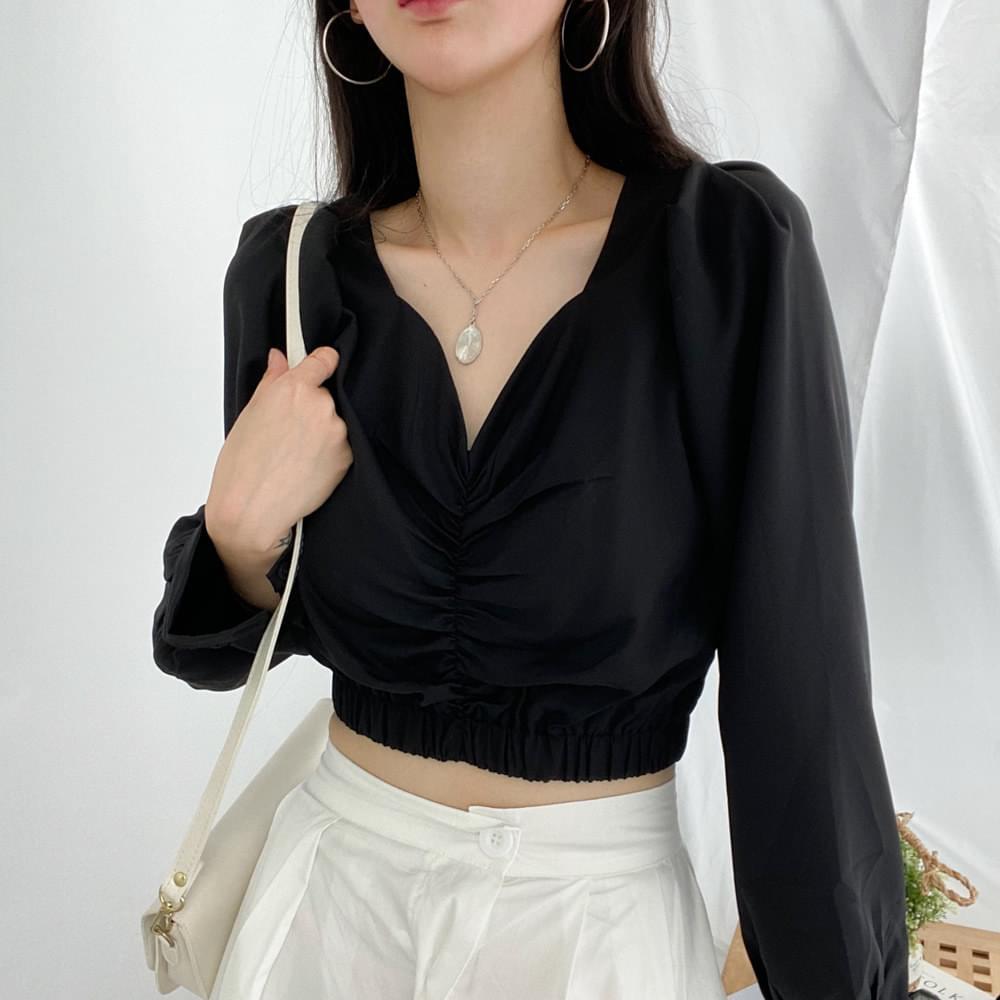 PZ78 Holic Shirred Blouse Long Sleeve