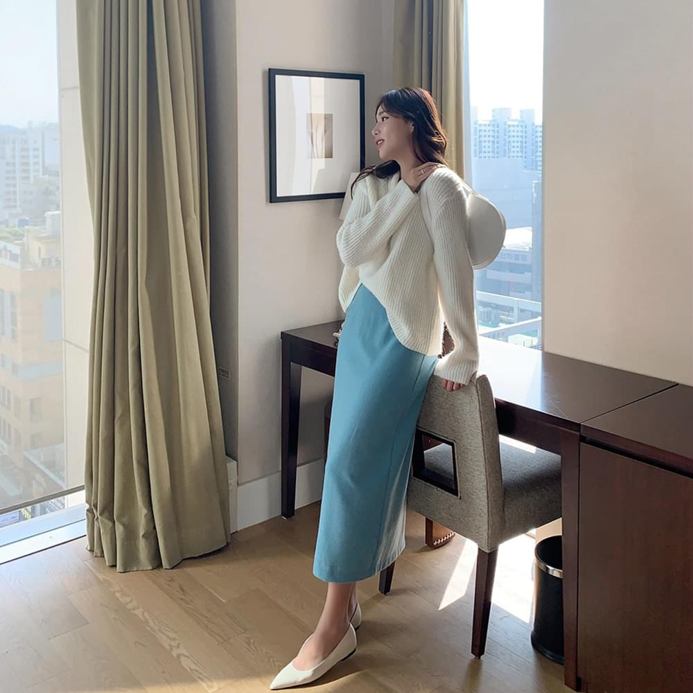 With wool skirt