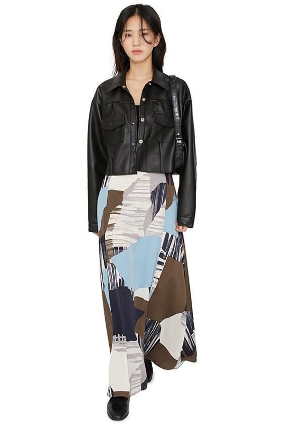 Mono pattern maxi skirt