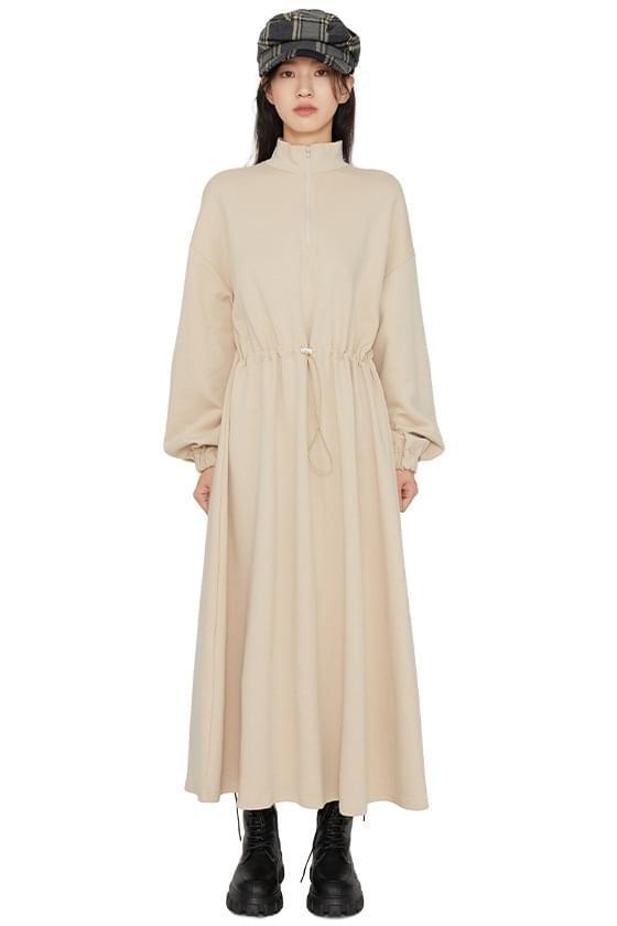 Grid zip-up maxi dress