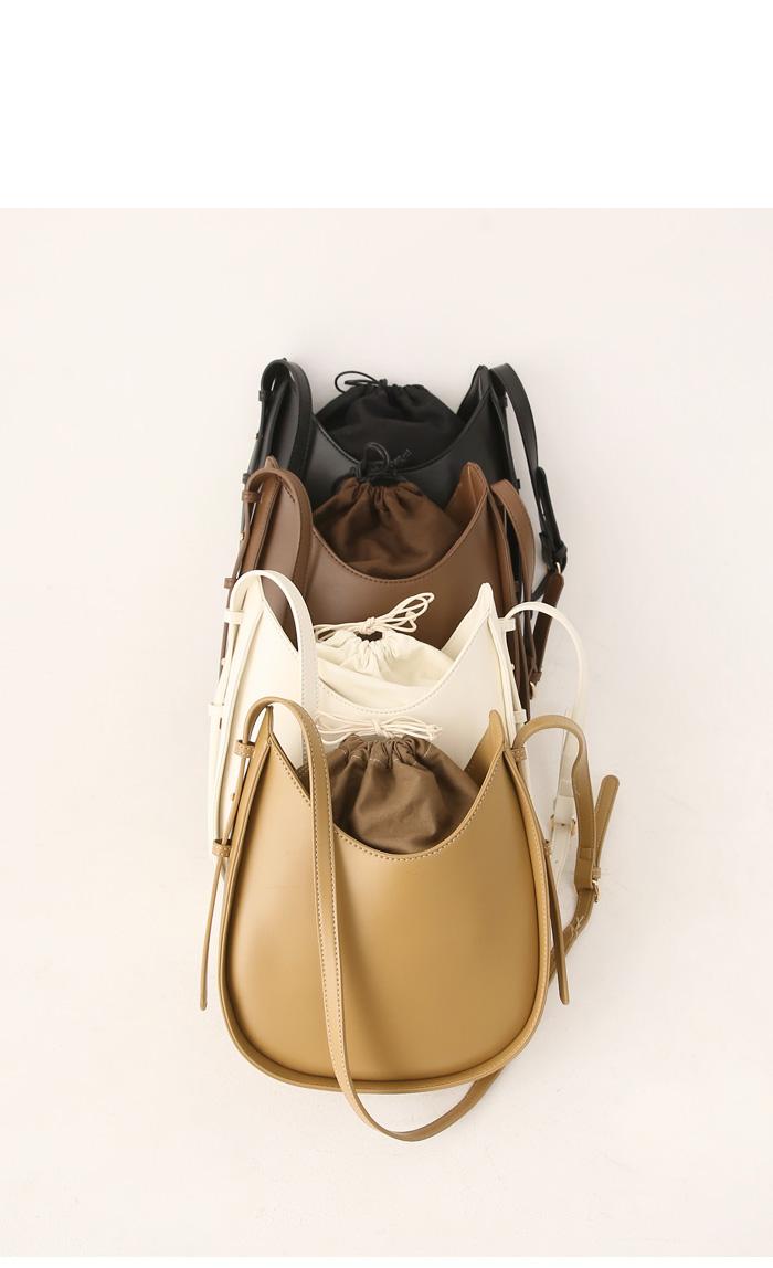 束口設計皮革肩背包