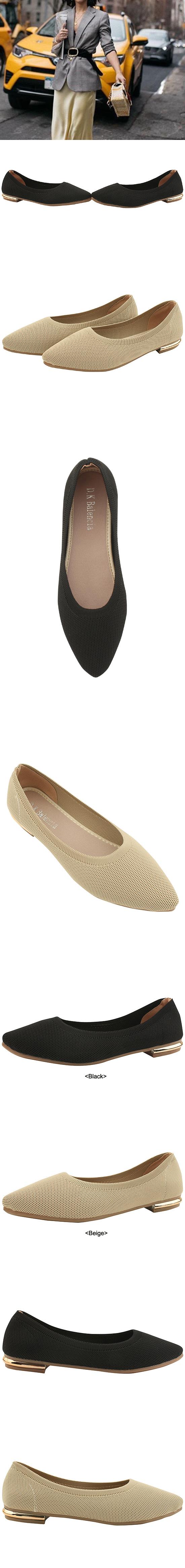 Soft Stiletto Knit Flat Shoes Black