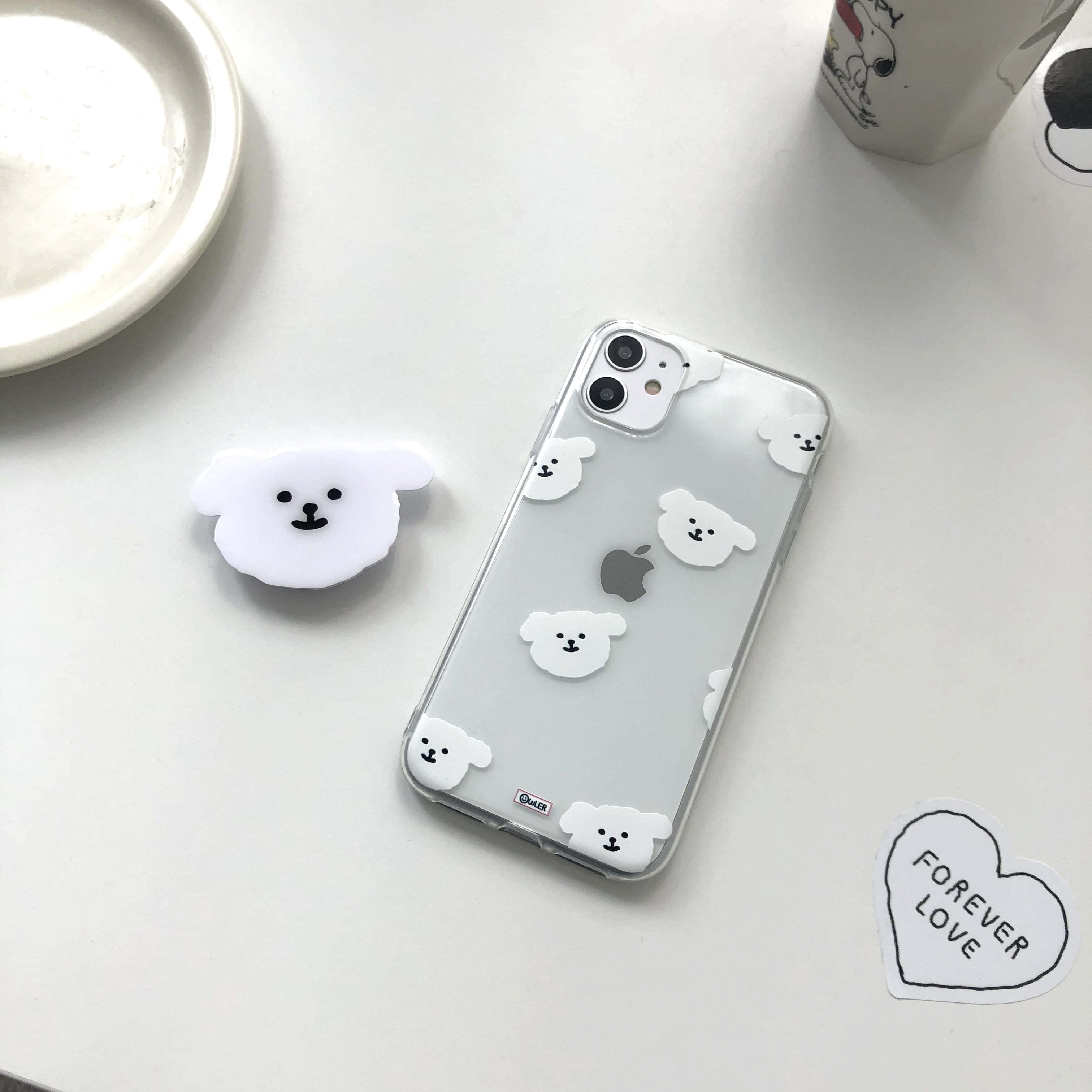 Cotton Ball Pattern Transparent Jelly iPhone Case (Delayed delivery)