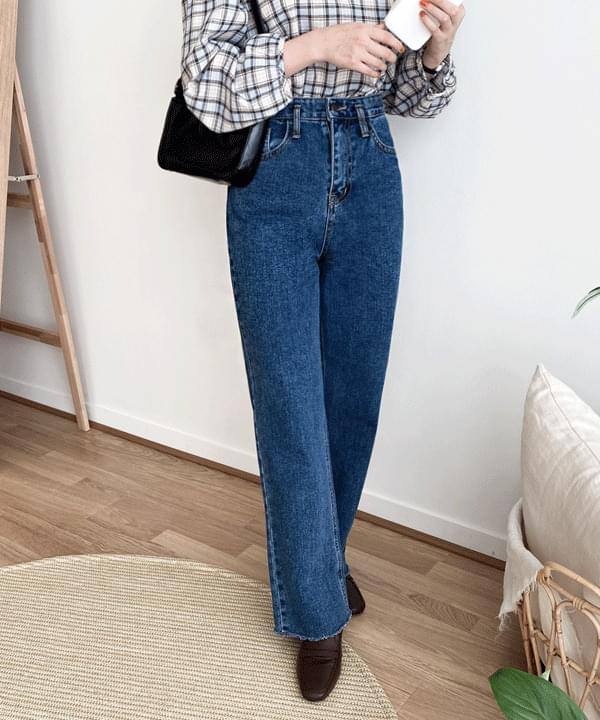Puzzle Wide Long Denim Pants