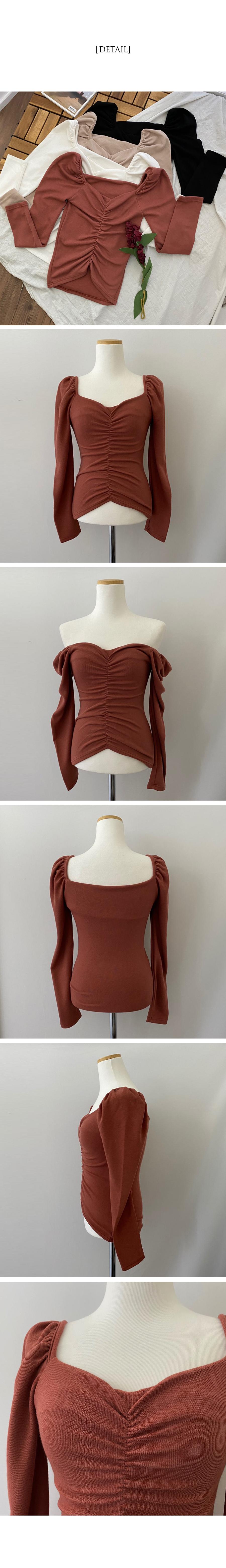 Meringue puff shirred knit T-shirt