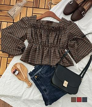Zuri check frill cropped blouse