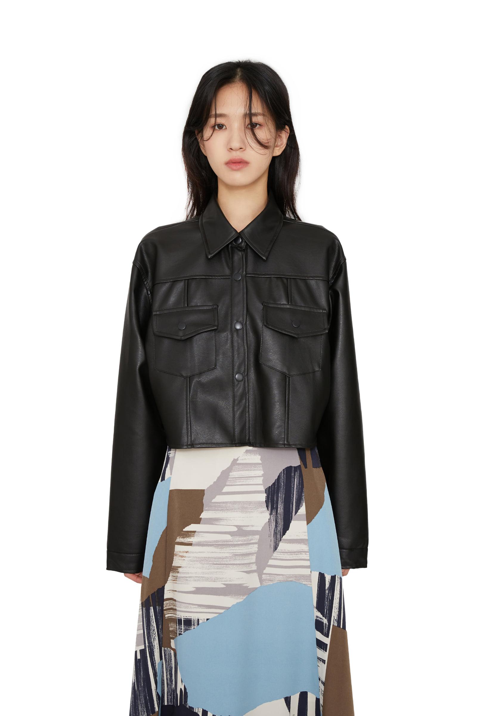 Moz cropped leather jacket
