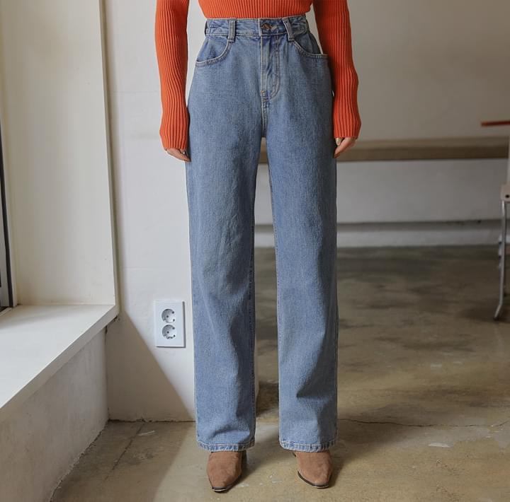 壓褶高腰水洗牛仔寬褲