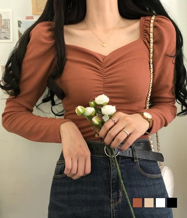 Meringue puff shirred knit T-shirt 長袖上衣