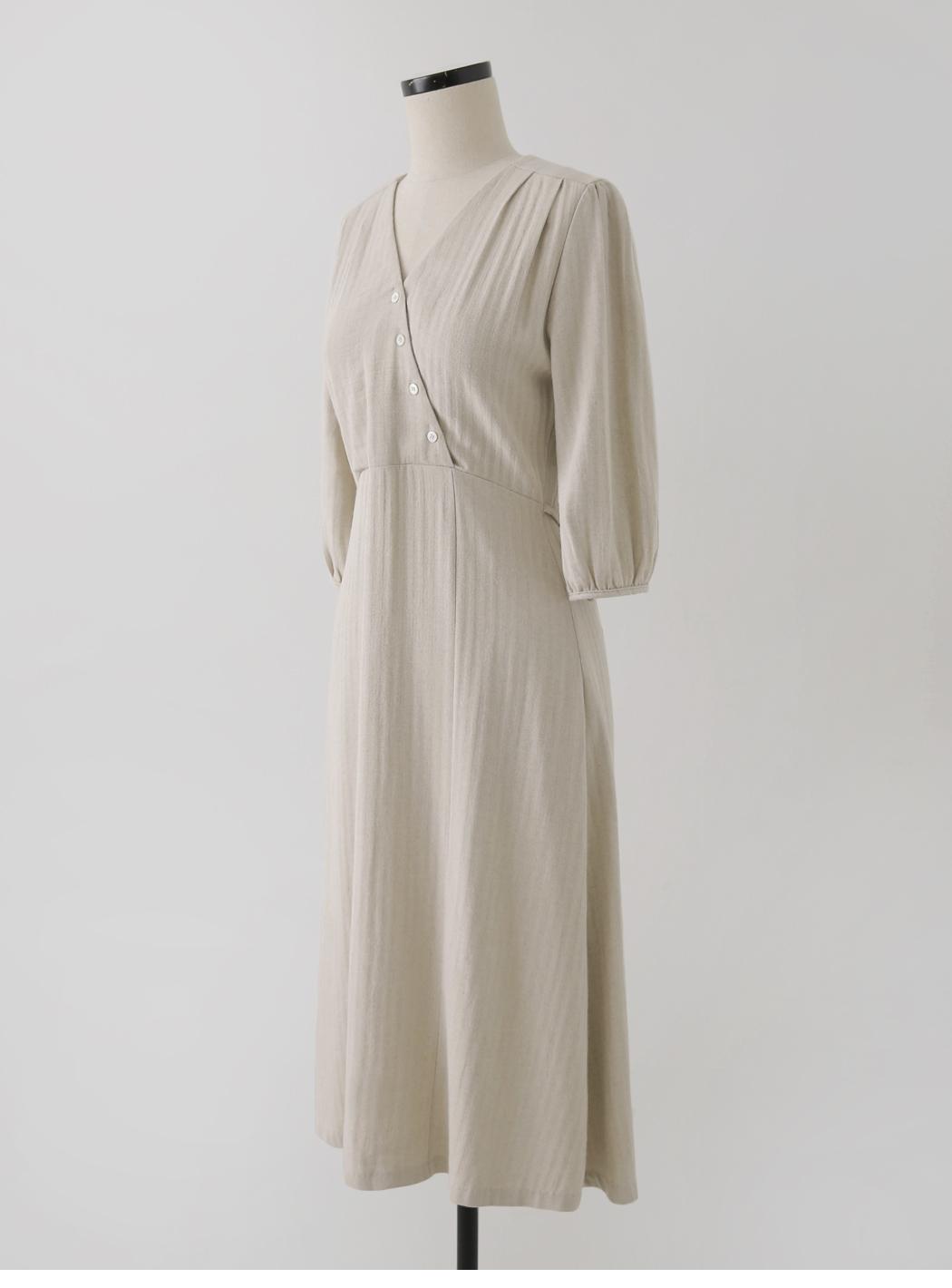 Cage diagonal wrap linen dress