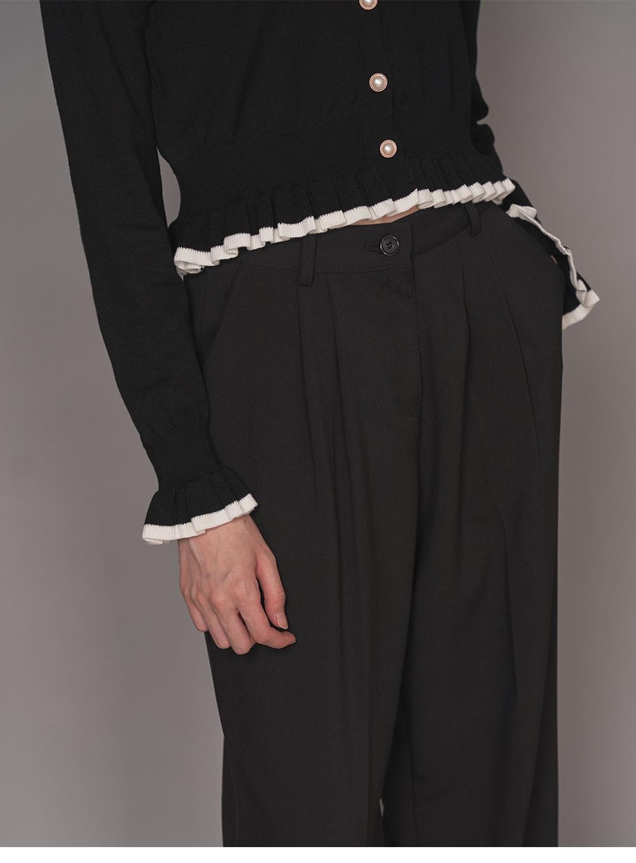Pearl collar frill cardigan