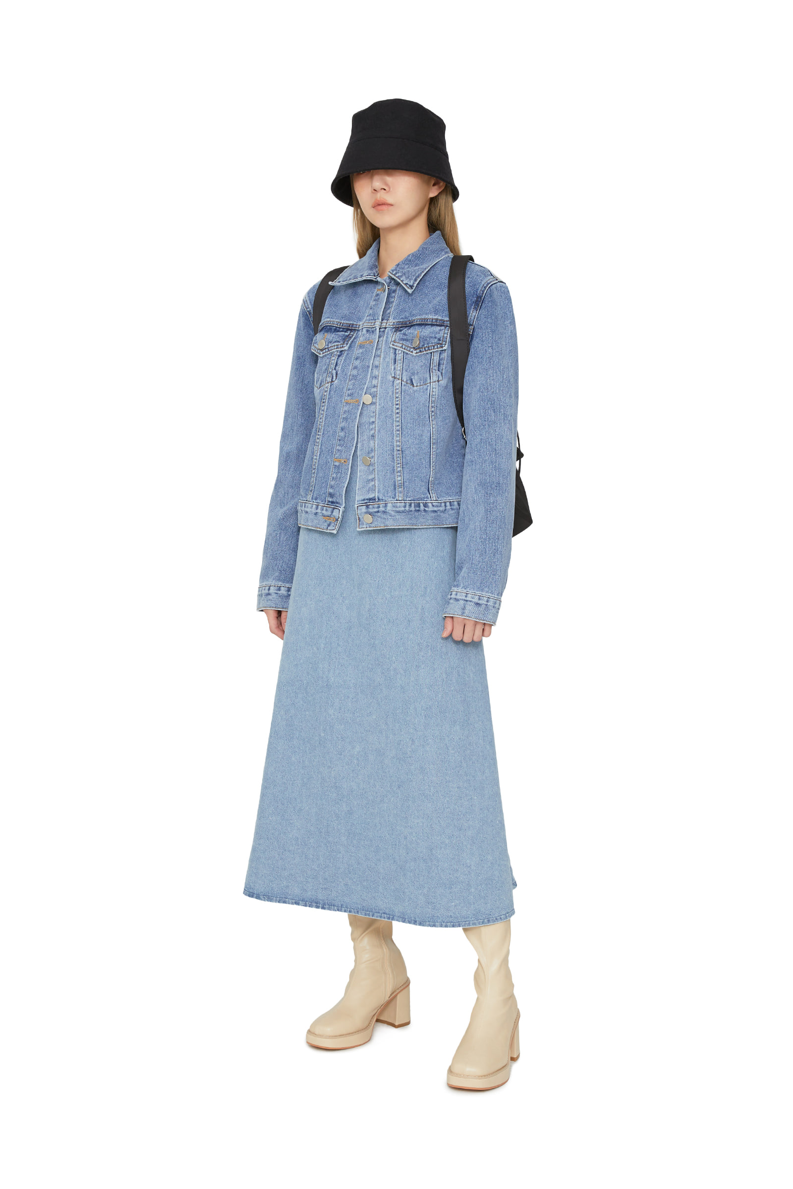 Marie denim midi dress