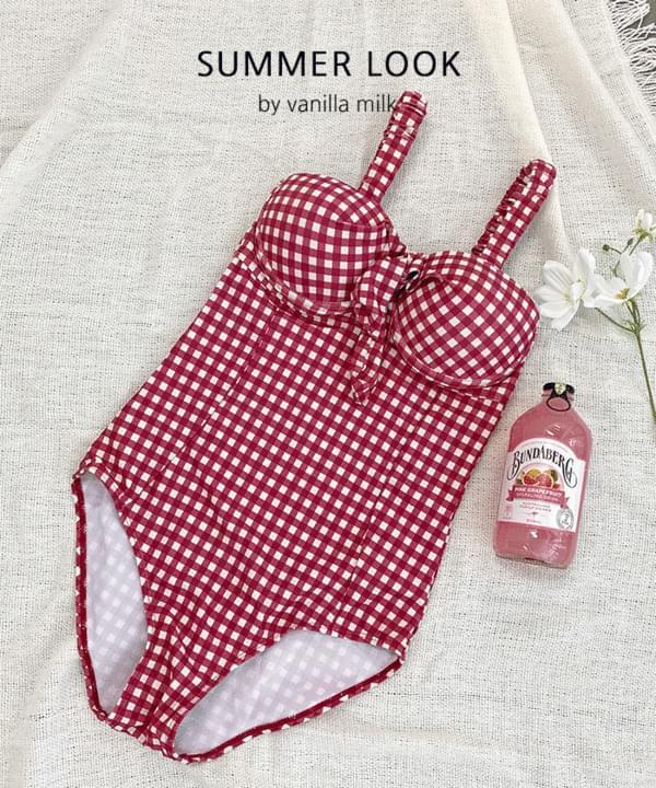 Summer Check Ribbon One-Piece Swimwear Monokini