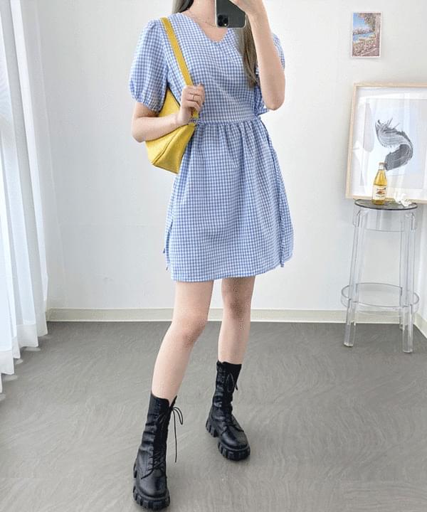 韓國空運 - Shirring Check Ribbon Dress 及膝洋裝