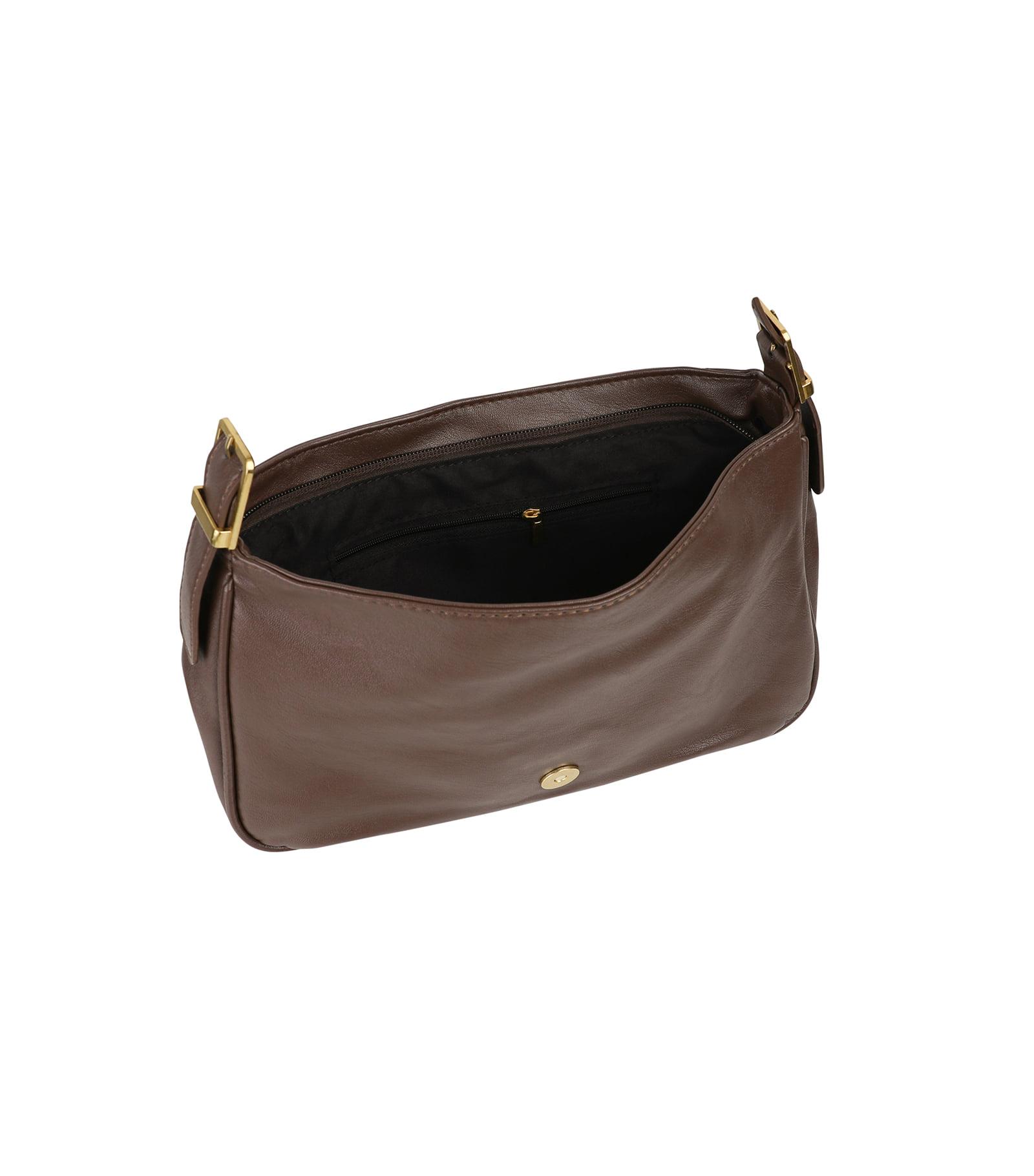 Deep merge soft buckle shoulder bag