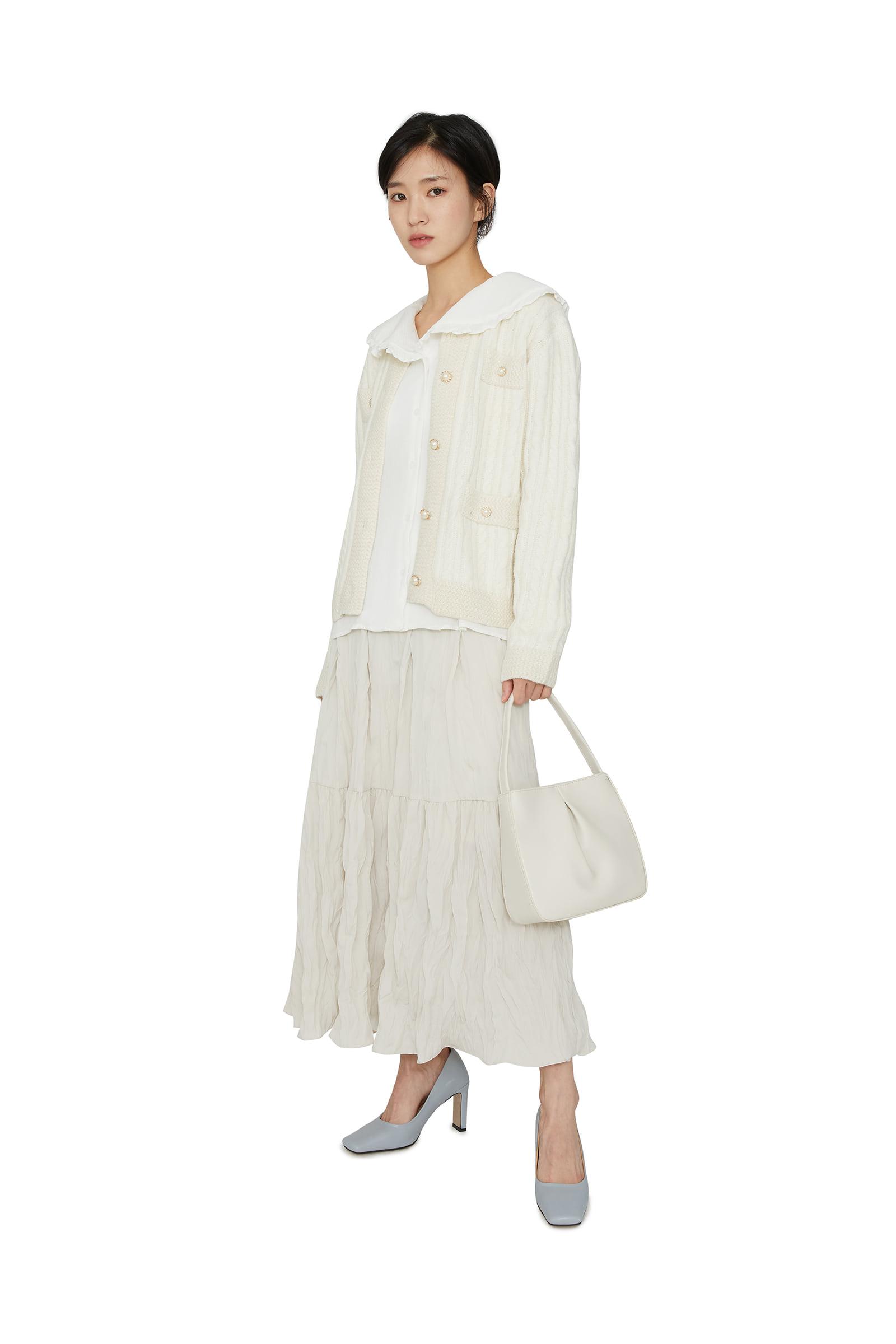 Crease frill maxi skirt