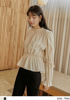 Drawstring Sleeve Frilled Blouse