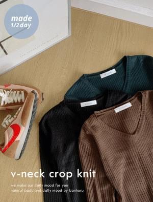 Puff Cream V-Neck Crop Golgi Knit